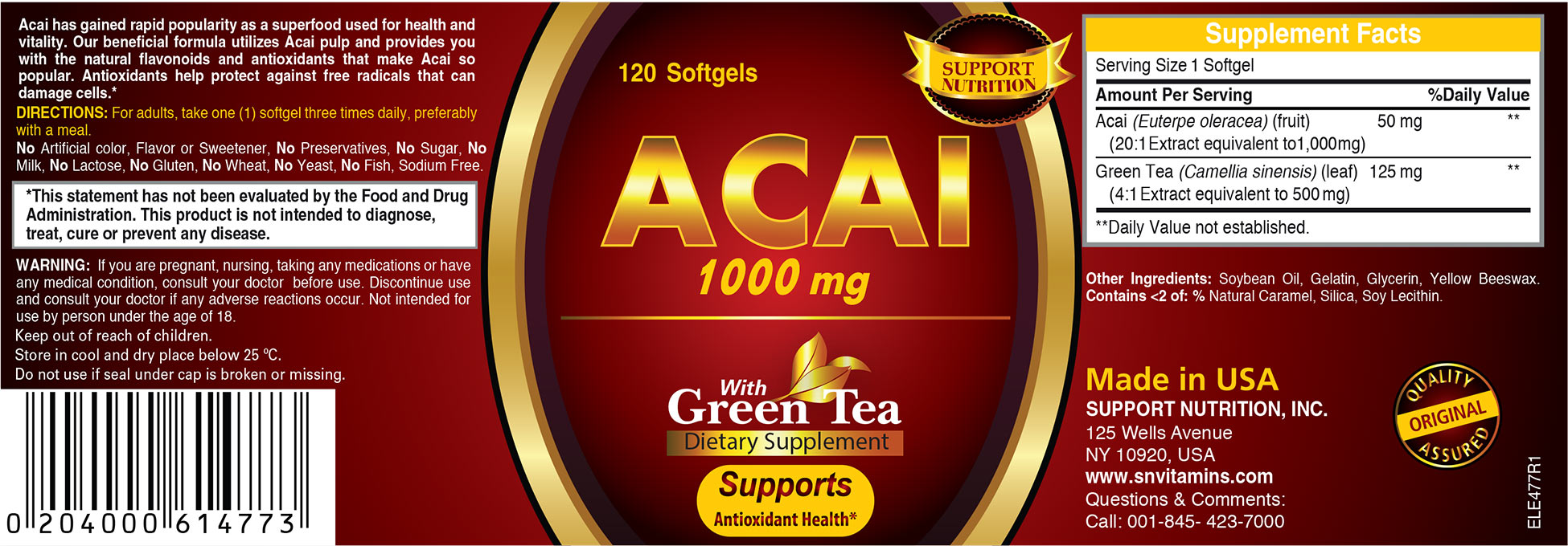 Acai 1000mg Green Tea Dietary Supplement