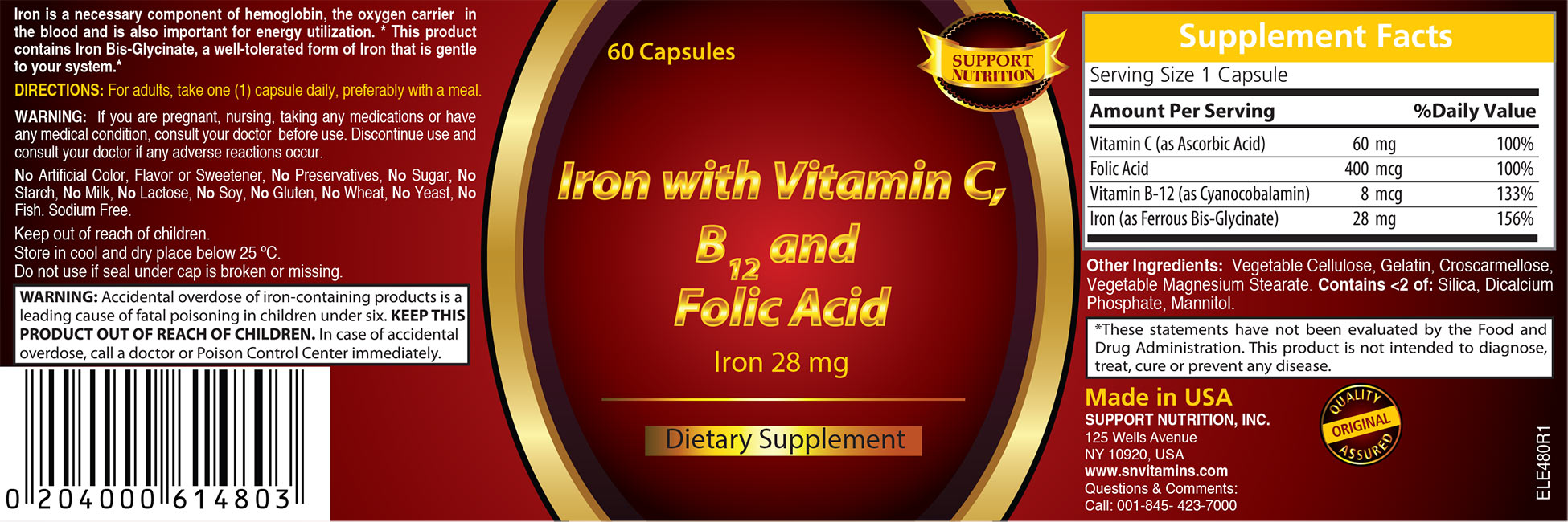 Iron with Vitamin C, B12 and Folic Acid