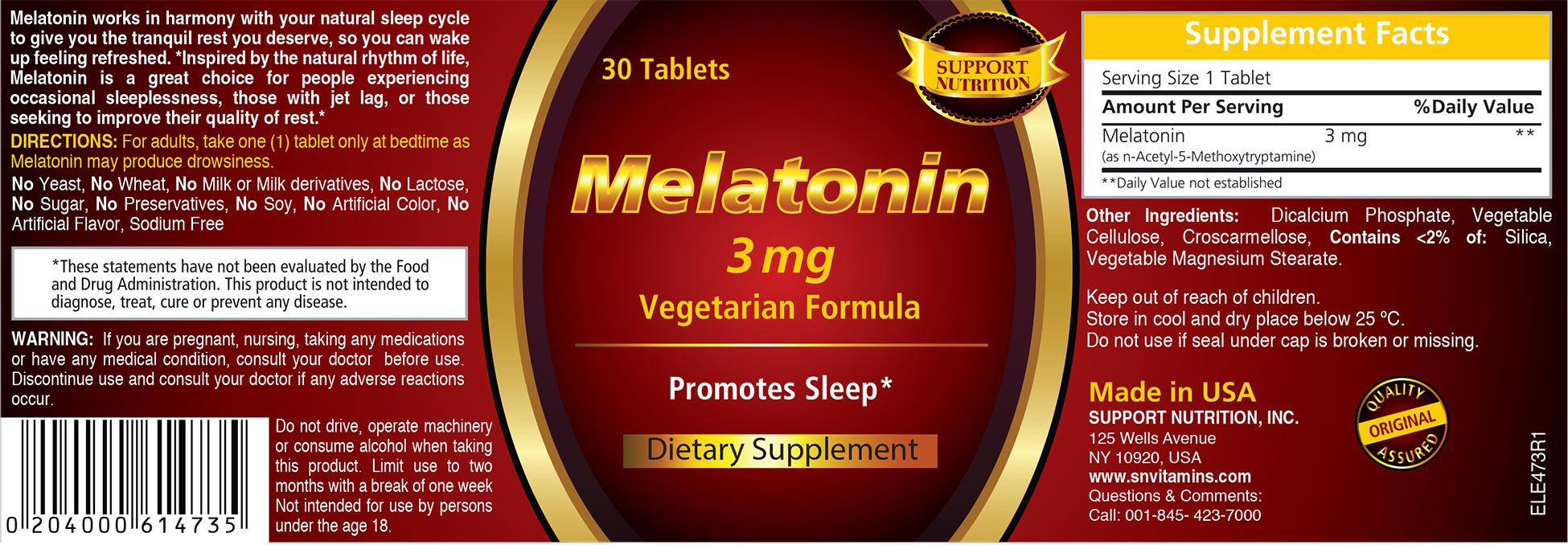 Melatonin Dietary Supplement