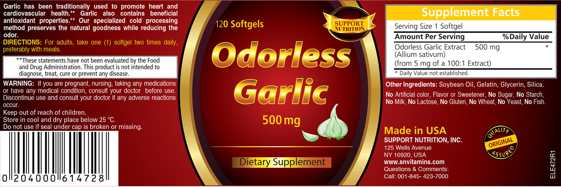 Odorless Garlic Dietary Supplement