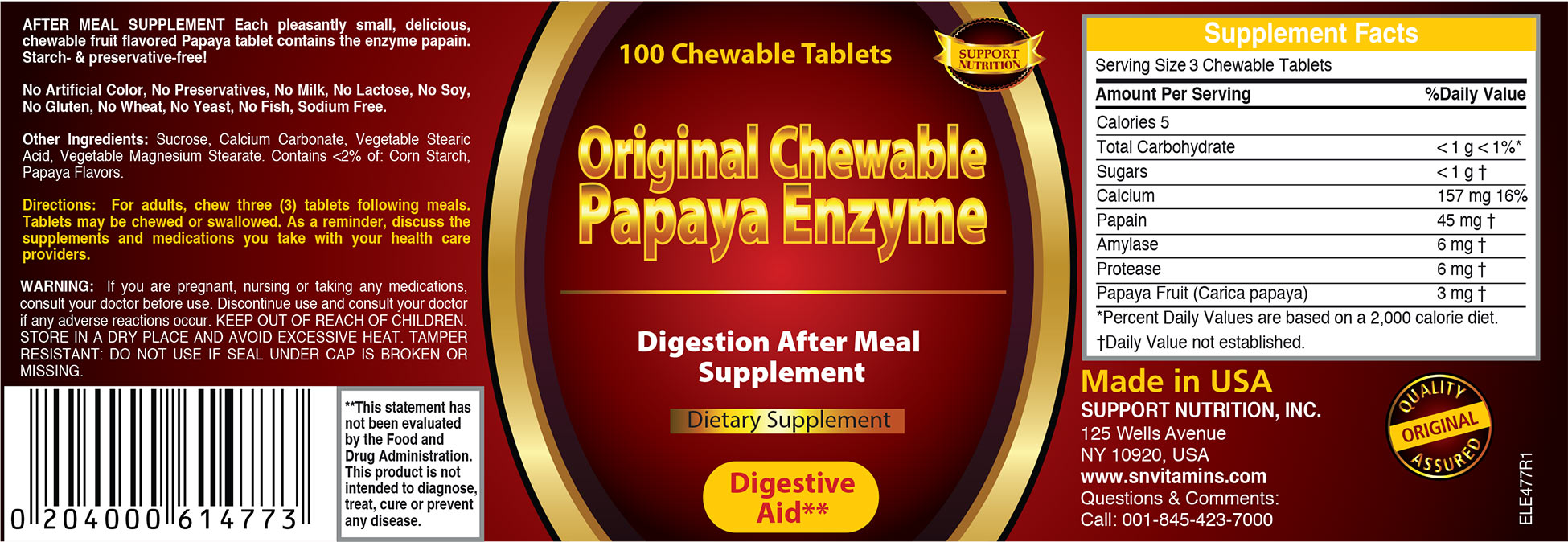 original chewable papaya enzyme