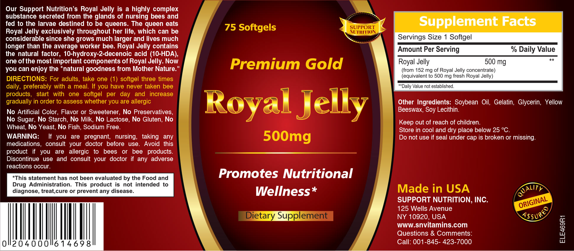 Premium Gold Royal Jelly Dietary Supplement